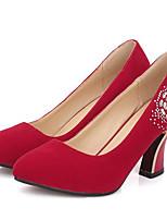 Недорогие -Жен. Комфортная обувь Замша Весна Обувь на каблуках Гетеротипическая пятка Черный / Красный