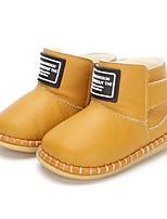 Недорогие -Мальчики Обувь Кожа Зима Удобная обувь / Обувь для малышей Ботинки На липучках для Дети Черный / Светло-желтый / Коричневый