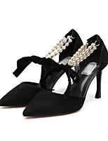 abordables -Femme Chaussures Daim Eté Confort Chaussures à Talons Talon Aiguille Noir