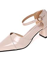 Недорогие -Жен. Обувь Полиуретан Весна лето С ремешком на лодыжке Обувь на каблуках На толстом каблуке Заостренный носок Бежевый / Розовый