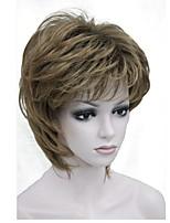 Недорогие -Парики из искусственных волос Жен. Прямой Светло-коричневый Стрижка под мальчика Искусственные волосы 6 дюймовый синтетический Светло-коричневый Парик Короткие Без шапочки-основы