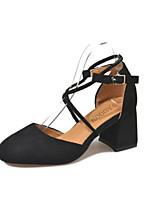 baratos -Mulheres Sapatos Confortáveis Camurça Primavera & Outono Saltos Salto Robusto Preto / Rosa claro / Amêndoa