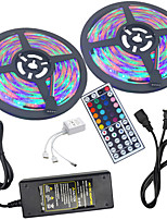 cheap -HKV 2x5M Light Sets / RGB Strip Lights 600 LEDs 3528 SMD 1 44Keys Remote Controller / 1 X 5A power adapter RGB Waterproof / Cuttable / Linkable 100-240 V 1set