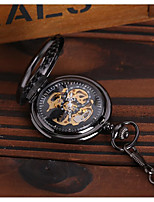 preiswerte -Herrn Taschenuhr Automatikaufzug Transparentes Ziffernblatt Armbanduhren für den Alltag Legierung Band Analog Luxus Freizeit Totenkopf Schwarz - Schwarz