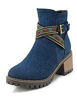 Недорогие -Жен. Cowboy / Western Boots Деним Наступила зима На каждый день Ботинки На толстом каблуке Круглый носок Ботинки Пряжки Черный / Темно-синий / Светло-синий