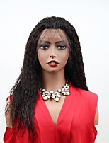 cheap -Remy Human Hair Lace Front Wig Brazilian Hair Matte Wig Asymmetrical Haircut 130% Women / Easy dressing / Sexy Lady Black Women's Long Human Hair Lace Wig