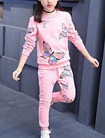 Недорогие -Дети Девочки Активный / Уличный стиль Спорт Бабочка С принтом С принтом Длинный рукав Набор одежды