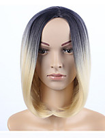 cheap -Synthetic Wig Straight Black / Blonde Middle Part Synthetic Hair 12 inch Women / Ombre Hair / Middle Part Black / Blonde / Ombre Wig Women's Mid Length Capless