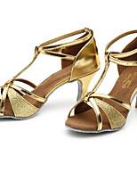 Недорогие -Жен. Обувь для латины Полиуретан На каблуках Кубинский каблук Танцевальная обувь Черный / Серебряный / Верблюжий / Выступление