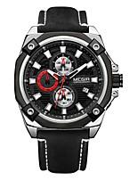 Недорогие -MEGIR Муж. Спортивные часы Японский Кварцевый 30 m Защита от влаги Календарь Секундомер Натуральная кожа Группа Аналоговый На каждый день Мода Черный - Черный Серебряный / Фосфоресцирующий