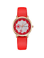 cheap -Women's Wrist Watch Quartz Casual Watch PU Band Analog Flower Fashion Black / White / Blue - Red Pink Light Blue