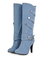 cheap -Women's Shoes Denim Fall & Winter Fashion Boots Boots Stiletto Heel Pointed Toe Mid-Calf Boots Black / Dark Blue / Light Blue / Party & Evening