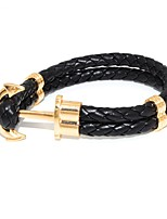 cheap -Men's Braided Leather Bracelet - Anchor Simple, Trendy, Fashion Bracelet Green / Blue / Cool White For Daily / Going out