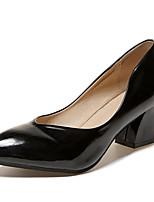 Недорогие -Жен. Полиуретан Лето Туфли лодочки Обувь на каблуках На толстом каблуке Заостренный носок Черный / Желтый / Пурпурный