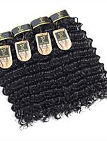 Недорогие -4 Связки Индийские волосы Крупные кудри Натуральные волосы Человека ткет Волосы / Пучок волос / One Pack Solution 8-28 дюймовый Естественный цвет Ткет человеческих волос