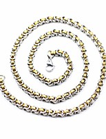 cheap -Men's Byzantine Necklace / Long Necklace - Titanium Steel, Stainless Simple, Classic Golden+Silver 60 cm Necklace Jewelry 1pc For Street, Going out