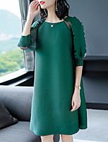 Недорогие -Жен. Классический / Элегантный стиль Оболочка Платье - Однотонный / Цветочный принт До колена