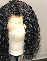 Недорогие -Натуральные волосы Лента спереди Парик Бразильские волосы / Бирманские волосы Кудрявый Парик С конским хвостом 130% Женский / Легко туалетный / Лучшее качество Нейтральный Жен. Длинные