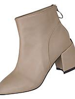 Недорогие -Жен. Полиуретан Лето Модная обувь Ботинки На толстом каблуке Сапоги до середины икры Черный / Коричневый