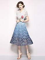 Недорогие -Жен. Изысканный / Элегантный стиль А-силуэт Платье - Цветочный принт, Кружева Средней длины