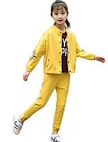 cheap -Kids Girls' Basic Sports Print Long Sleeve Cotton Clothing Set