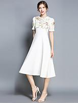 Недорогие -Жен. Изысканный / Элегантный стиль Шифон Платье - Цветочный принт, Вышивка Средней длины