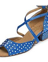 baratos -Mulheres Sapatos de Dança Latina Cetim Têni Detalhes em Cristal Salto Grosso Sapatos de Dança Azul