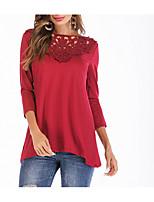 baratos -Mulheres Camiseta Básico Renda / Com Corte / Patchwork, Sólido