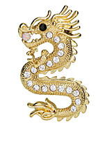 cheap -Men's AAA Cubic Zirconia Vintage Style / Stylish Brooches - Imitation Diamond Dragon Vintage, Fashion, Chinoiserie Brooch Gold / Silver For Daily / Holiday