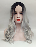 cheap -Synthetic Wig Wavy Middle Part Synthetic Hair 24 inch Heat Resistant / Ombre Hair / Middle Part Gray Wig Women's Long Capless Black / Grey / Yes