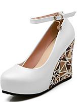 Недорогие -Жен. Комфортная обувь Синтетика Осень Обувь на каблуках Туфли на танкетке Белый / Черный / Розовый / Повседневные
