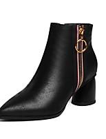Недорогие -Жен. Комфортная обувь Наппа Leather Наступила зима Ботинки На толстом каблуке Черный / Лиловый
