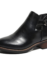 Недорогие -Жен. Fashion Boots Полиуретан Осень Английский Ботинки На толстом каблуке Круглый носок Черный / Коричневый
