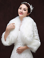 cheap -3/4 Length Sleeve Faux Fur Wedding / Birthday Women's Wrap With Ruched Shrugs