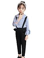 cheap -Kids Girls' Basic School Striped Bow / Ruffle Long Sleeve Cotton Clothing Set