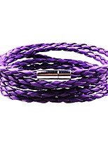 cheap -Men's Braided Wrap Bracelet / Leather Bracelet - Leather Creative, Twist Circle Stylish, Simple, Casual / Sporty Bracelet Purple / Dark Yellow / Cool White For Date / Street