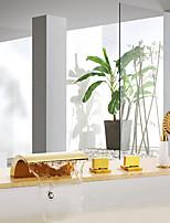 Недорогие -Смеситель для ванны - Профессиональный / Универсальная Ti-PVD Ванна и душ Керамический клапан