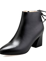 cheap -Women's Shoes Nappa Leather Fall & Winter Comfort Boots Chunky Heel Black