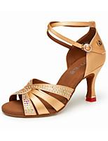 cheap -Women's Latin Shoes Satin Heel Cuban Heel Dance Shoes Black / Yellow / Brown / Performance / Leather / Practice