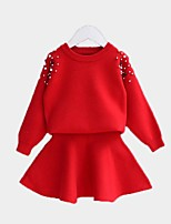 cheap -Kids Girls' Solid Colored Long Sleeve Clothing Set
