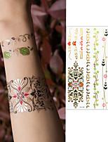 preiswerte -3 pcs Temporary Tattoos Blumen Serie / Zeichentrickserie Umweltfreundlich / Neues Design Körperkunst Gesicht / Korpus / Arm / Decal-Stil temporäre Tattoos
