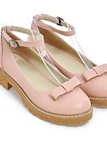 Недорогие -Жен. Полиуретан Весна Туфли лодочки Обувь на каблуках На низком каблуке Черный / Синий / Розовый