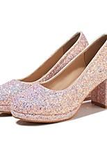 Недорогие -Жен. Балетки Полиуретан Лето Обувь на каблуках На толстом каблуке Черный / Красный / Розовый