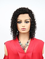 billiga -Remy-hår Spetsfront Wig Brasilianskt hår Afro Kinky Peruk Asymmetrisk frisyr 130% Dam / Enkel på- och avklädning / Sexig Lady Svart Dam 8-14 Äkta peruker med hätta