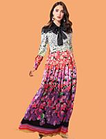Недорогие -Жен. Классический / Элегантный стиль Оболочка Платье - Цветочный принт / Радужный Макси