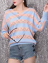 Недорогие -Жен. Длинный рукав Пуловер - Полоски V-образный вырез