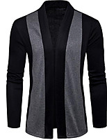 cheap -men's long sleeve long cardigan - color block stand
