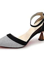 Недорогие -Жен. Strappy Stacked Heels Полиуретан Лето Обувь на каблуках На клиновидном каблуке Заостренный носок Черный / Серебряный / Розовый / Для вечеринки / ужина