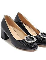 Недорогие -Жен. Комфортная обувь Лакированная кожа Весна Обувь на каблуках На толстом каблуке Белый