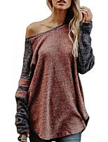 Недорогие -Жен. На выход Длинный рукав Свободный силуэт Длинный Пуловер - Контрастных цветов